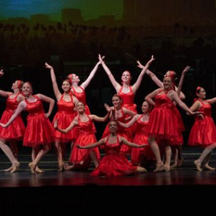 Breakin Beats ballet dancers in red